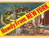 Vintage New York City Postcard - Howdy from New York (Unused)