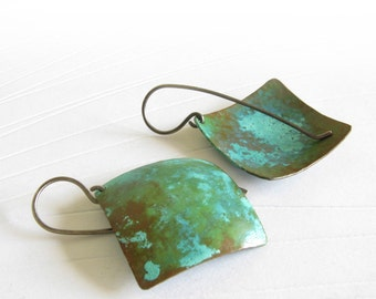 Copper patina earrings with oxidized sterling silver.  Organic verdigris jewelry. Rustic lightweight. Austere. Unique gift for her.