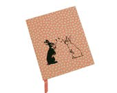 Bunnies with Bubbles journal or sketchbook - upcycled, screenprinted, one of a kind