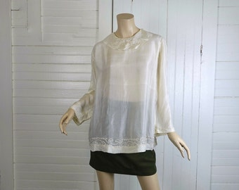 20s Blouse in Sheer Ivory- 1920s Silk Flapper Tunic- Medium- Pierrot Collar