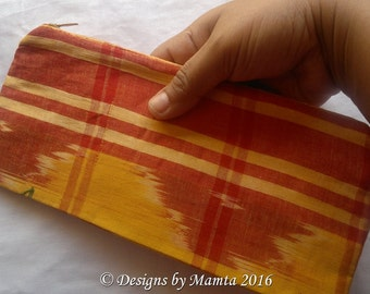 Yellow Ikat Zippered Pouch, Coin Purse With Zipper, Woven Fabric Pencil Case, Fabric Change Purse, Zippered Pouch, Handmade Fabric Wallet