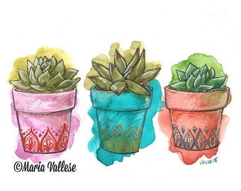Succulents, Succulent Art, Succulent Illustration, Retro Sorrento, Plant art, Gardening Art
