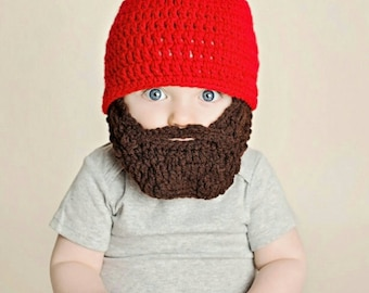 Lumberjack First Birthday, Lumberjack Party Supplies, Lumberjack Baby, Silly Fun Funny Father's Day Gift, Baby Beard Beanie, Baby Beard Hat
