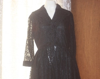 Vintage Lucy Black 50's Lace Dress Small AS IS