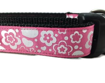 Dog Collar, Pink Flowers, 1 inch wide, adjustable, quick release, metal buckle, chain, martingale, hybrid, nylon