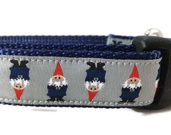 Dog Collar, Gnomes Dog Collar, 1 inch wide, adjustable, quick release, martingale, chain, hybrid, heavy nylon