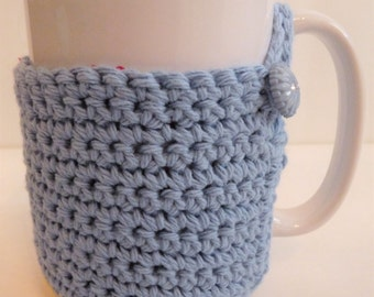 Crochet Mug Cozy in Blue and Yellow, For Coffee Lovers and Tea Drinkers