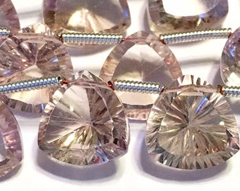 Ametrine pink Amethyst LARGE gem quality faceted ring cut trillion shaped briolettes 1 pair or more AAAA