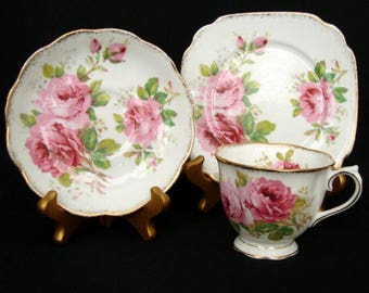 """Royal Albert """"American Beauty"""" Trio - Cup, Saucer and Plate - c1941 - 1990"""