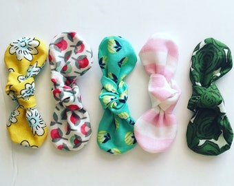 mini KNOT fabric bow headband/clips (pick 3)