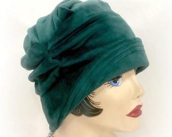 Green Velvet Cloche - Soft Velour Cloche - Alice Cloche - Deep Green Cloche - 1920's Style Cloche - Custom Cloche - Made to Order Cloche