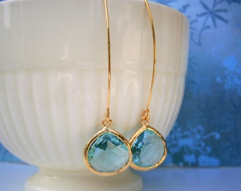 Aquamarine Earrings, Gold Earrings, Blue Earrings, Sister Gift, Wife Gift, Christmas, Holiday Gift