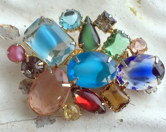 Vintage Juliana Style Brooch Pin Fruit Salad Rhinestone Givre Glass Open Back