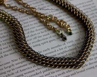 Old Fashioned Brass Necklace, Dragonscales Chainmaille