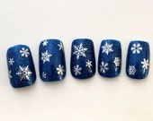 Reserved Listing For Miriam, Snowflake Fake Nails, Holiday Glitter Press On Nails
