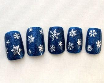 Snowflake Fake Nails, Holiday Glitter Press On Nails, False Nails, Square Fake Nails, Medium Nails, Acrylic Nail, Glitter Nails, DIY Nail