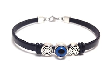 Evil eye spiral bracelet - black leather  - blue eye  - protection - Greek jewelry - Greek mati - Gift for her or for him