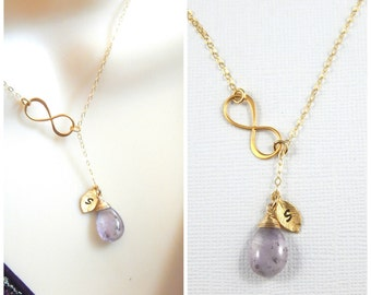 Infinity Necklace, Y Necklace, Amethyst Lariat, Personalized Birthstone Lariat, February Birthstone, Bridesmaids Gifts, Gold Filled