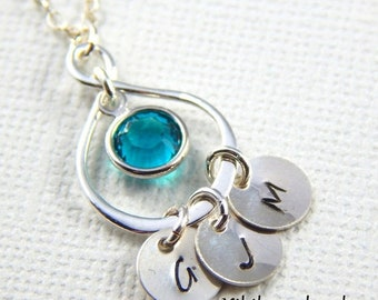 Mothers Day Sale Personalized Mothers Necklace, Initial Necklace, Birthstone necklace, Infinity Necklace, Mothers Jewelry