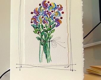 "Dancing Wiggling Flowers  Watercolor Original Strathmore Card 5"""" x 6 7/8"" & Envelope Card Blank  betrueoriginals"