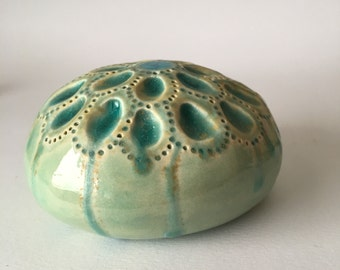 Sea Bubble Jewel Ceramic Turquiose Wall Pod With Bue Glass