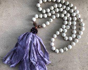White Howlite Tassel Necklace Hand Knotted Long Bohemian Howlite Beads Upcycled Sari Silk Ribbon Tassel - DAHLIA Handmade by SplendorVendor