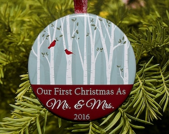 Our First Christmas Mr and Mrs Ornament - Birds and Trees - C139