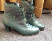Reserved for Valérie aka Matiyoko - Vintage Ankle Boots Booties Green Boots Green Booties US EU 39 UK