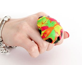 Ceramic Ring Statement Jewelry -  Big ring, Bold ring, Neon ring, Fall fashion, Cocktail Ring, New Year Fashion