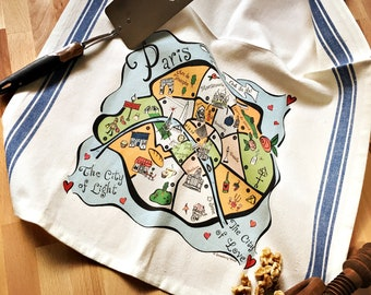 Paris Map Kitchen/Tea Towel