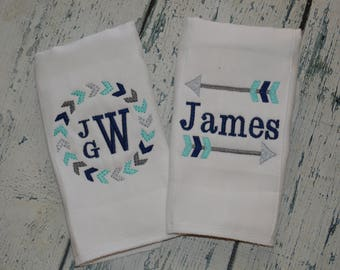 Personalized  Tribal Arrow Burp cloth Set of 2 Monogrammed Boys or Girls Burpee Set