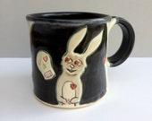 Rabbit Mug, Black and White Bunny Mug with Skulls and Hearts, Ceramic Coffee Mug or Tea Mug, Animal Pottery,