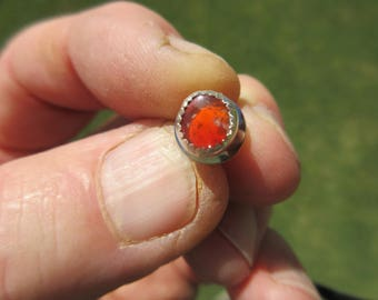 Sterling Silver Mexican Red Fire Opal Tie Tac Hat Lapel Pin