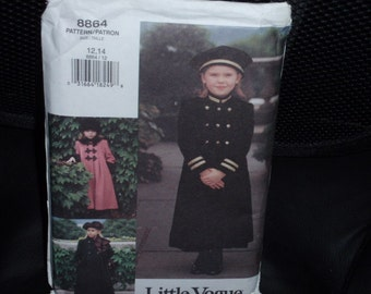 Vogue 8864 Girls Childs Militairy Double Breasted Coat and Hat Size 12-14  Uncut New