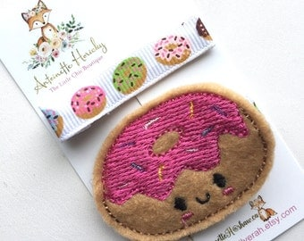 Embroidered Sweet Donut Girls Hair Clip