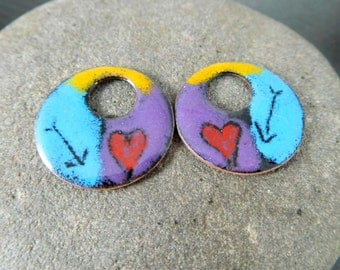 Heart & Arrows Colorful Enameled Copper 22mm Circle Earring Charms, Bright Colors, Boho Earring Drop Pair, Off Set Washer Enamel Beads