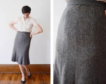1980s Grey Tweed Kick-pleat Skirt - M