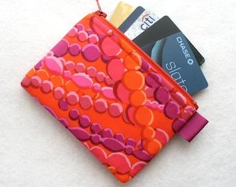 Kaffe Fasset Fabric Zippered Credit Card Case Womens Card Holder Coin Purse Wallet Business Card Case Cascade Beads Tomato Red Orange Purple