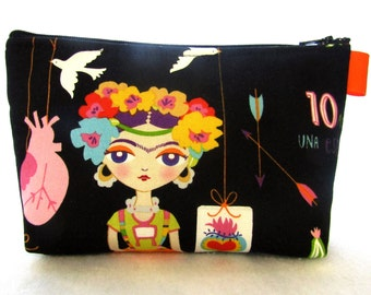 Artist Frida Kahlo Fabric Large Cosmetic Bag Zipper Pouch Padded Makeup Bag Zip Pouch Alexander Henry Esperanza Self Portrait Black Bright