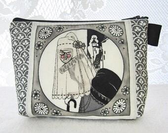 The Ghastlies Halloween Fabric Makeup Bag Cosmetic Bag Fabric Zipper Pouch Gadget Pouch Alexander Henry Gray Widow Ghastlie Old Crone GGW
