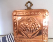 Vintage Copper Heart Mold ~ Brass and Copper ~ The Cooks Bazaar ~ Square  with inset heat and Brass Finial