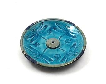 Dragonflies Raku Incense Burner Handmade Pottery