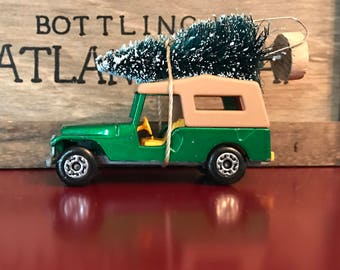 Vintage Jeep Carrying Christmas Tree Ornament