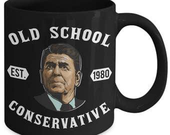 Old School Conservative 1980s President Reagan Coffee Mug