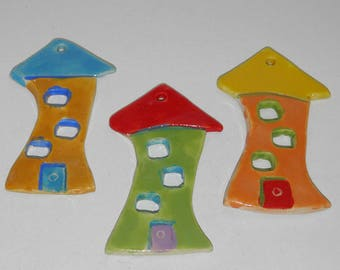 "3 Pieces Handmade Ceramic Tile Houses 9.5cm (3.7"") Home Decoration Ornaments - Different Colors"