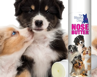 Australian Shepherd All Natural, Handcrafted NOSE BUTTER® Balm for Dry Crusty Dog Noses .50 oz Tube with Choice of Aussie Label