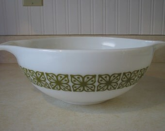 Vintage Pyrex Verde Green Cinderella Mixing Bowl 4 Qt 444 Square Flowers