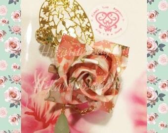Blushing Sakura Origami Rose Pin/Hair clip