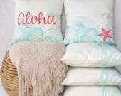 Aloha / Waves / Starfish Pillow Cover - High quality zippered pillow cover