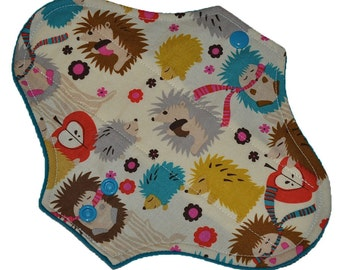 Moderate Hemp Core- Hedgehog Meadow Reusable Cloth Pantyliner Pad- Windpro Fleece- 8.5 Inches